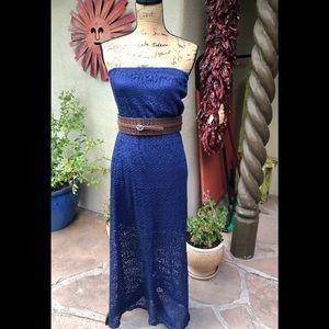No Boundaries Crochet Strapless Maxi Dress
